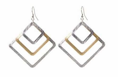 2 Tone Triple Diamond Earrings