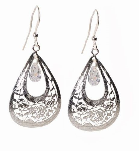 Filigree w/Crystal Drop Earrings