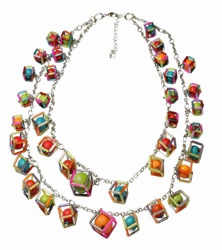 Bright Cubes Double Strand Necklace