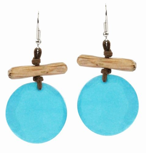 Natural Deep Blue Shell Earrings