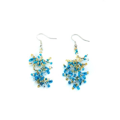 Beach Blue Coral Earrings
