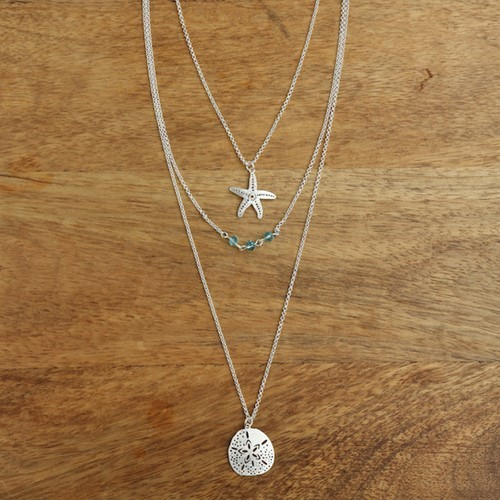 Layered Sea Life Necklace Silver
