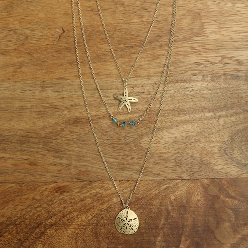 Layered Sea Life Necklace Gold