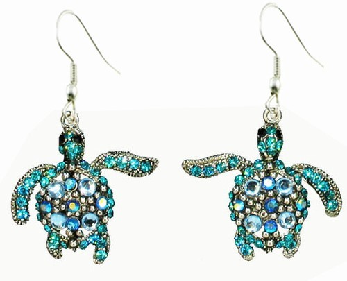 Blue Sea Turtle Earrings
