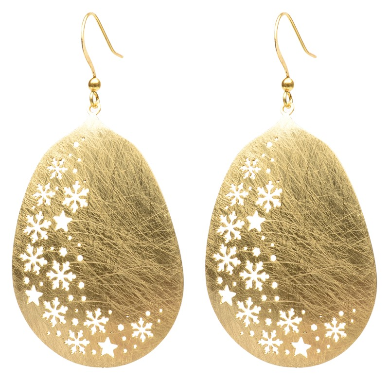 Snowflake Cutout Gold Earring