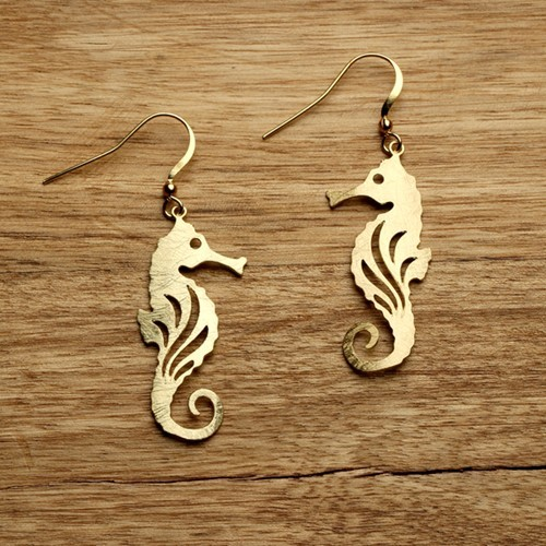 Seahorse Earrings Gold