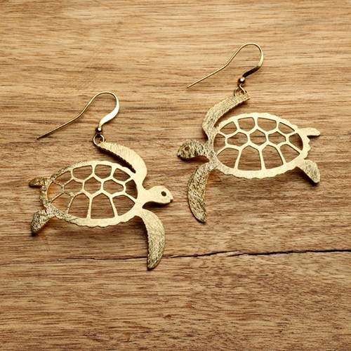 Sea Turtle Earrings Gold