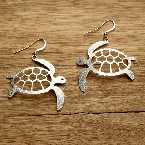 Sea Turtle Earrings Silver