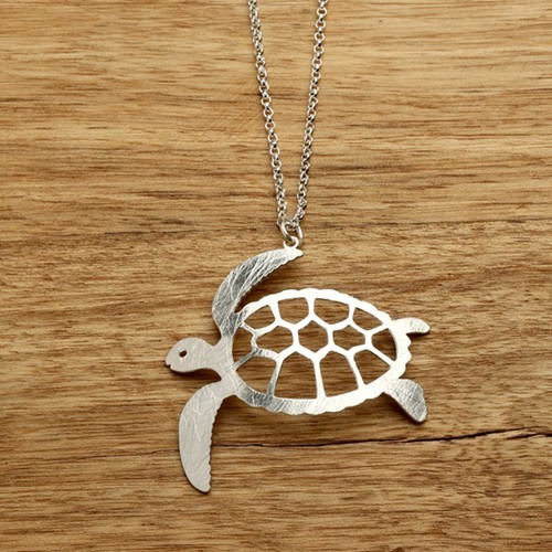Sea Turtle Necklace Silver