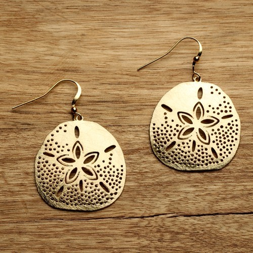 Sand Dollar Earrings Gold