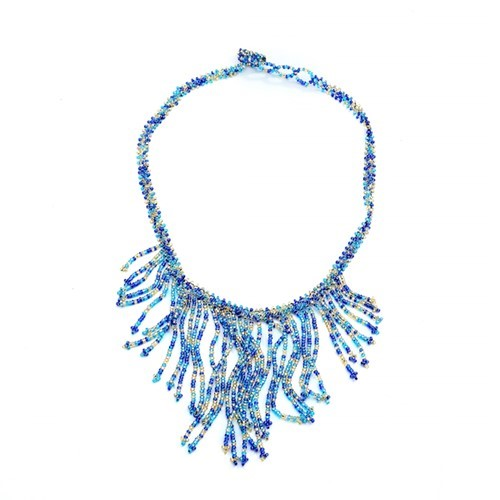 Cobalt Fringe Necklace