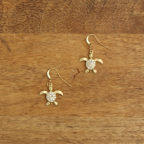 Sparkling Sea Turtle Earrings Gold