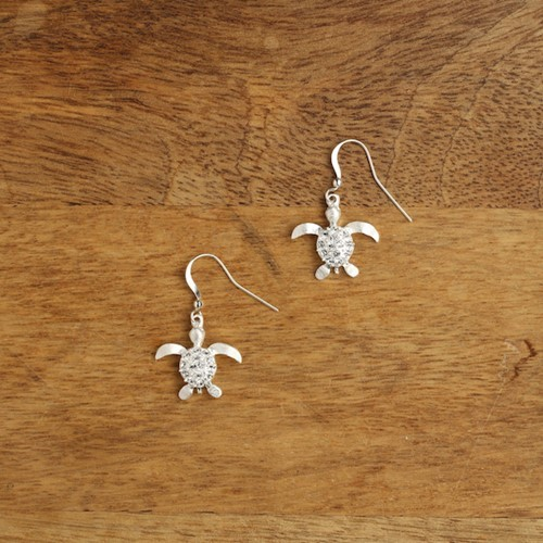 Sparkling Sea Turtle Earrings Silver