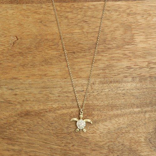 Sparkling Sea Turtle Necklace Gold