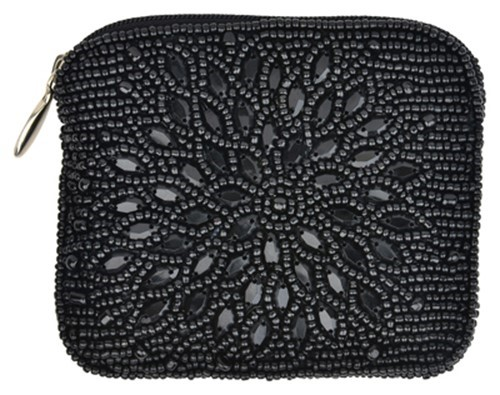 Night Bloom Black Coin Purse