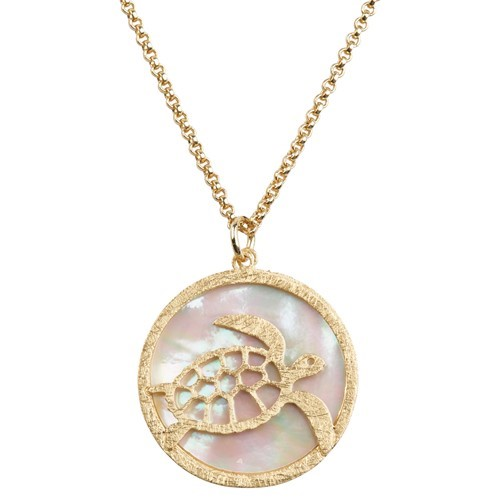 Turtle MOP Necklace Gold
