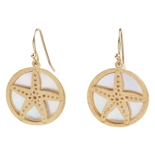 Starfish MOP Earrings Gold