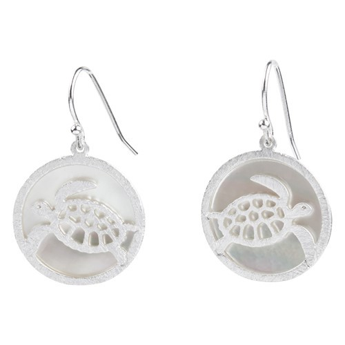 Turtle MOP Earrings Silver