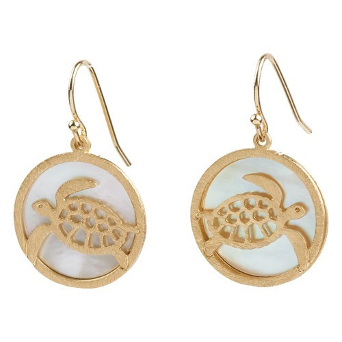Turtle MOP Earrings Gold