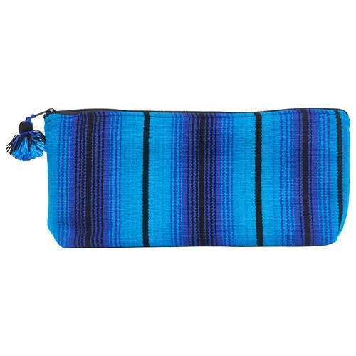 Blue Striped Cosmetic Bag