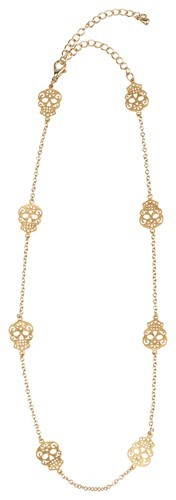 Sugar Skull Mini Necklace Gold