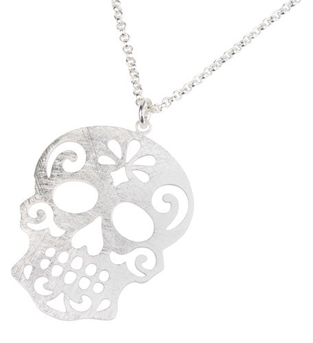 Sugar Skull Necklace Silver