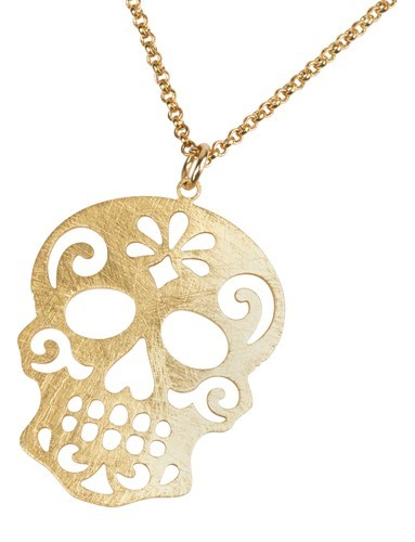 Sugar Skull Necklace Gold