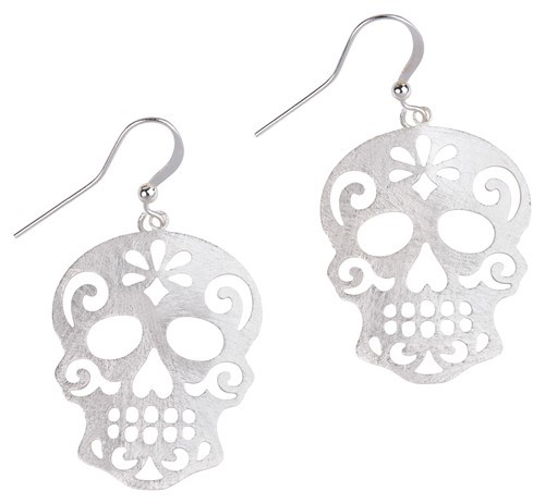 Sugar Skull Earrings Silver