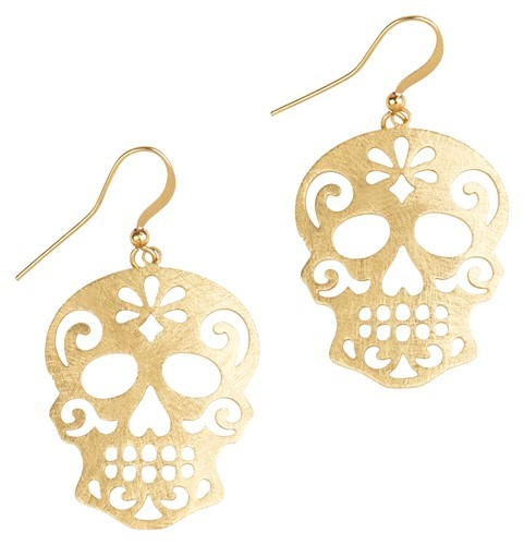 Sugar Skull Earrings Gold