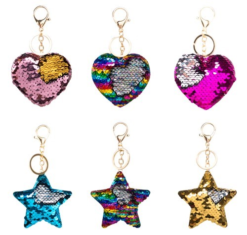 Mermaid Sequin Heart and Stars Keychains