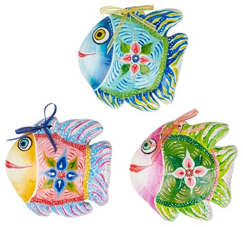 Happy Fish Wall Ornament Pink/ Turq/ Green