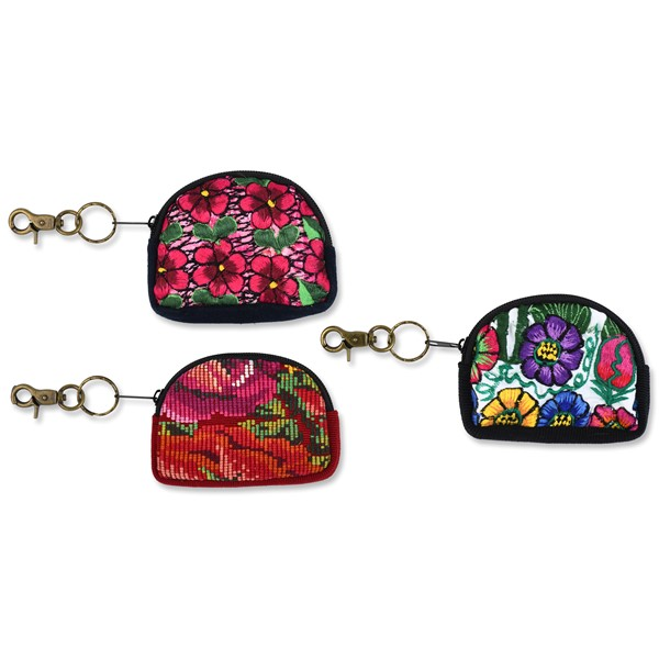 Huipil Half Moon Key Chain